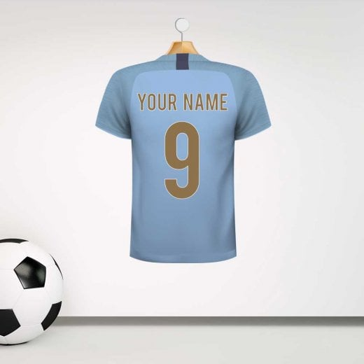 Personalised Light Blue Football Shirt Wall Sticker With Your Name & Number