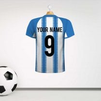 Personalised Light Blue & White Striped Football Shirt Wall Sticker With Your Name & Number