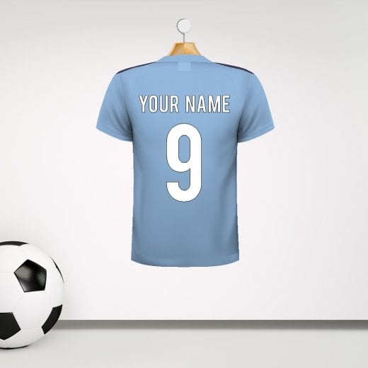 Personalised Light Blue With Dark Shoulders Football Shirt Wall Sticker With Your Name & Number