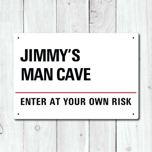 Personalised 'Man Cave' Enter At Your Own Risk Metal Sign