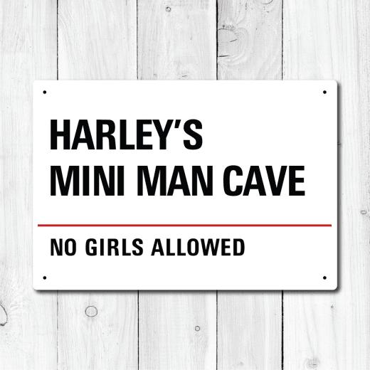 Personalised 'Mini Man Cave' Metal Sign