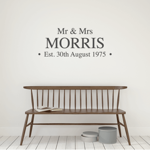 Personalised Mr & Mrs Established Name Wall Sticker