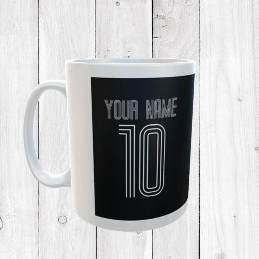 Personalised Name & Number Black Football Mug