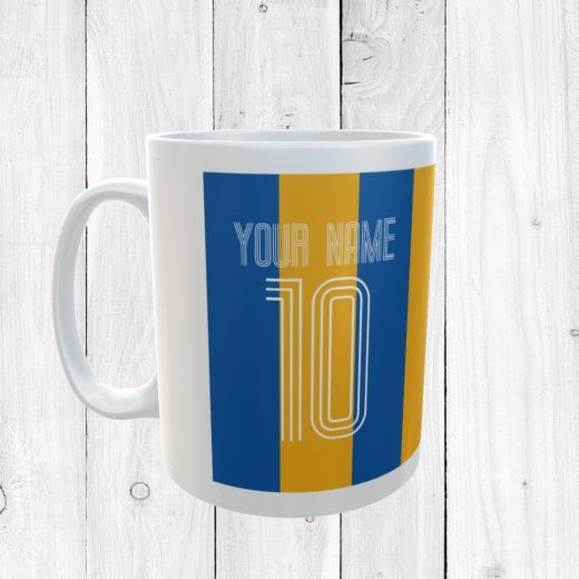 Personalised Name & Number Blue & Amber Football Mug