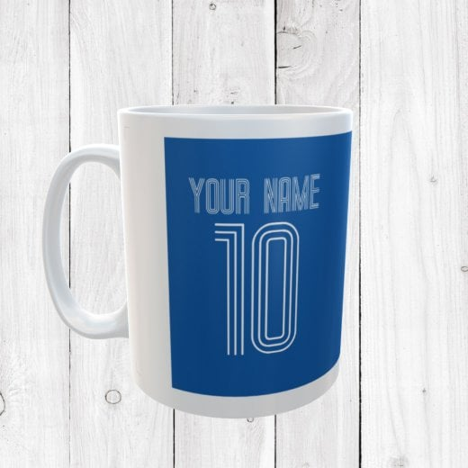 Personalised Name & Number Blue Football Mug
