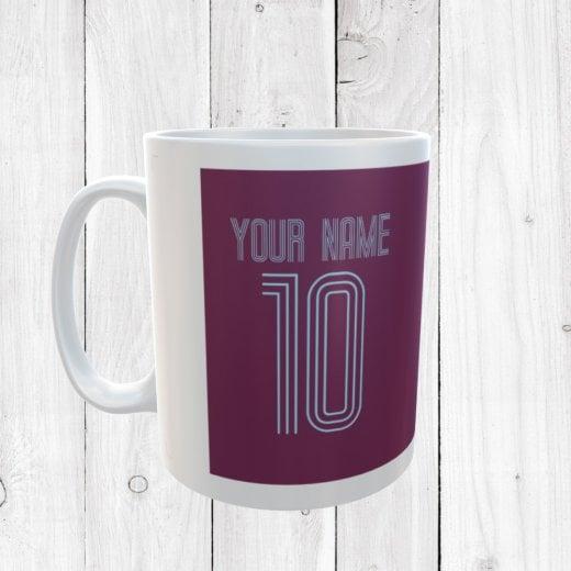 Personalised Name & Number Claret & Blue Football Mug