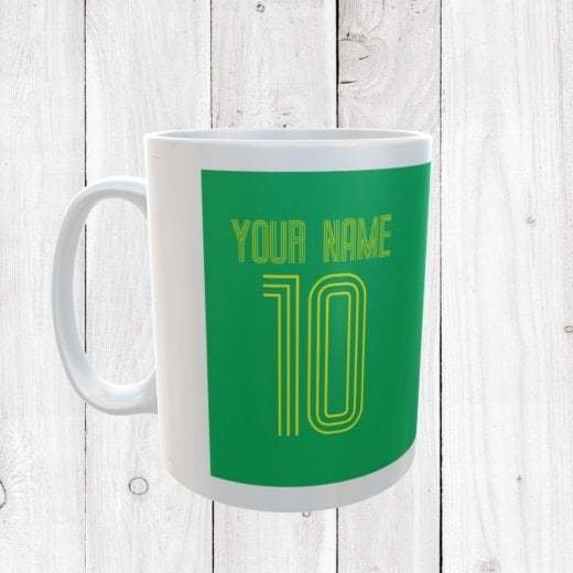 Personalised Name & Number Green Football Mug