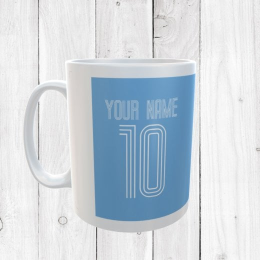 Personalised Name & Number Light Blue Football Mug