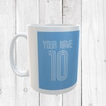 Personalised Name & Number Light Blue Football Mug