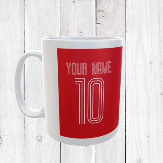Personalised Name & Number Red Football Mug
