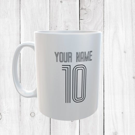 Personalised Name & Number White Football Mug