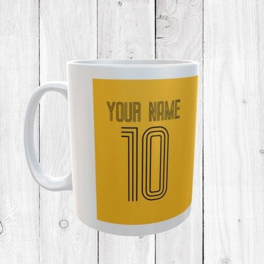 Personalised Name & Number Yellow Football Mug