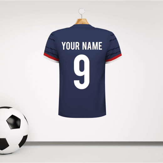 Personalised Navy Football Shirt Wall Sticker With Your Name & Number