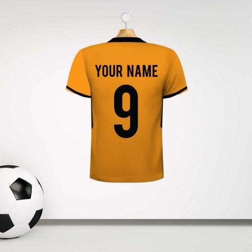 Personalised Orange & Black Football Shirt Wall Sticker With Your Name & Number