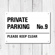 Personalised 'Private Parking' Metal Sign - Black Edition