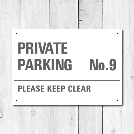 Personalised 'Private Parking' Metal Sign - Grey Edition