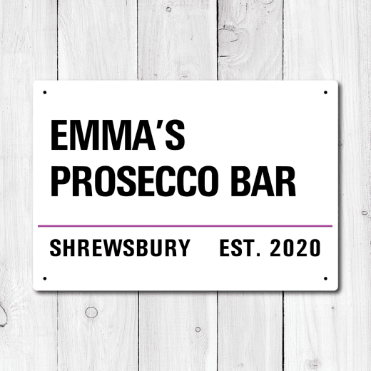 Personalised 'Prosecco Bar' Metal Sign