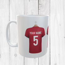Personalised Red & Black Football Shirts Mug With Your Name & Number