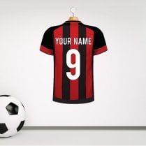 Personalised Red & Black Football Striped Shirt Wall Sticker With Your Name & Number