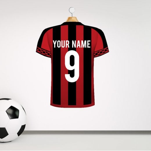 Personalised Red & Black Striped Football Shirt Wall Sticker With Your Name & Number