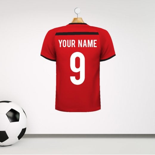 Personalised Red, Black & White Football Shirt Wall Sticker With Your Name & Number