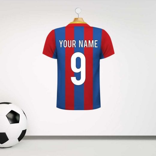 Personalised Red & Blue Striped Football Shirt Wall Sticker With Your Name & Number