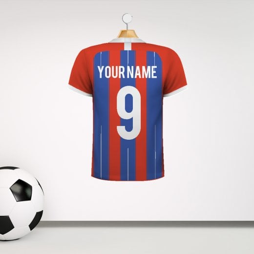 Personalised Red & Blue Striped With White Trim Football Shirt Wall Sticker With Your Name & Number