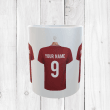 Personalised Red Football Shirts Mug With Your Name & Number