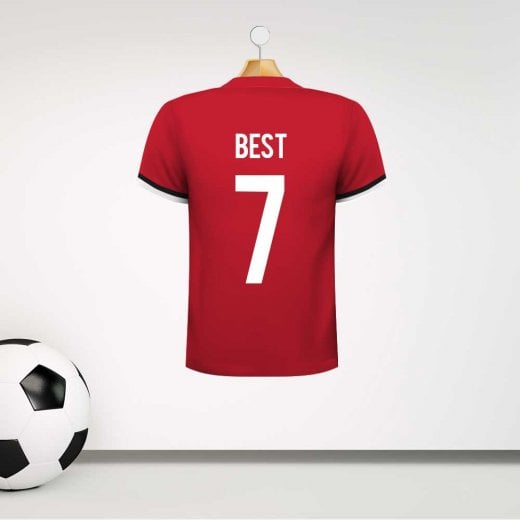 Personalised Red George Best 7 Football Shirt Wall Sticker