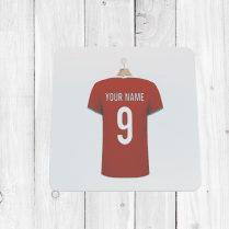 Personalised Red & Teal Trim Football Shirt Coaster