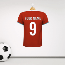 Personalised Red & Teal Trim Football Shirt Wall Sticker With Your Name & Number