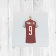Personalised Red & White Football Shirt Coaster