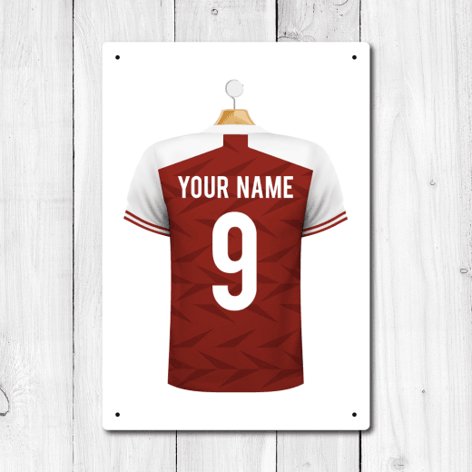 Personalised Red & White Football Shirt Metal Sign With Your Name & Number