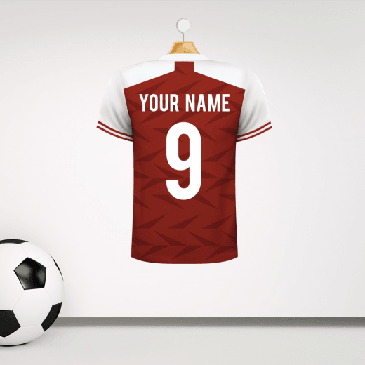 Personalised Red & White Football Shirt Wall Sticker With Your Name & Number