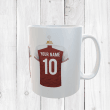 Personalised Red & White Football Shirts Mug With Your Name & Number