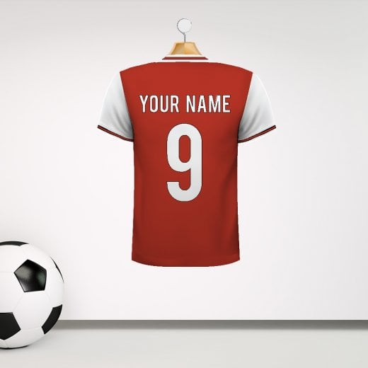 Personalised Red & White With Black & Red Trim Football Shirt Wall Sticker With Your Name & Number