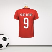 Personalised Red With Black Neck Line Football Shirt Wall Sticker With Your Name & Number