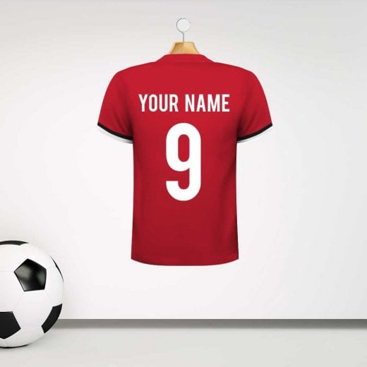 Personalised Red With Black Trim Football Shirt Wall Sticker With Your Name & Number