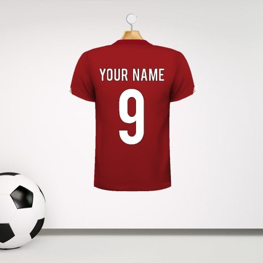 Personalised Red With White Arm Detail Football Shirt Wall Sticker With Your Name & Number