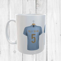 Personalised Sky Blue Football Shirts Mug With Your Name & Number