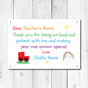 Personalised Thank You Teacher From Boy Metal Sign