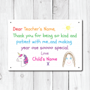 Personalised Thank You Teacher From Girl Metal Sign