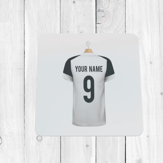 Personalised White & Black Football Shirt Coaster