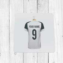 Personalised White & Black Football Shirt Coaster