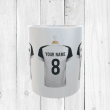 Personalised White & Black Football Shirts Mug With Your Name & Number