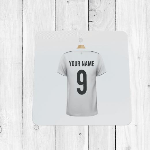 Personalised White & Blue Football Shirt Coaster