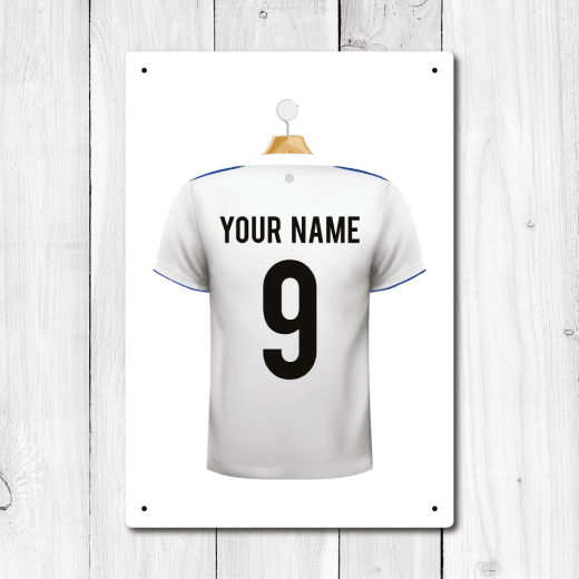 Personalised White & Blue Football Shirt Metal Sign With Your Name & Number