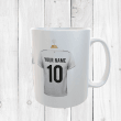 Personalised White & Blue Football Shirts Mug With Your Name & Number