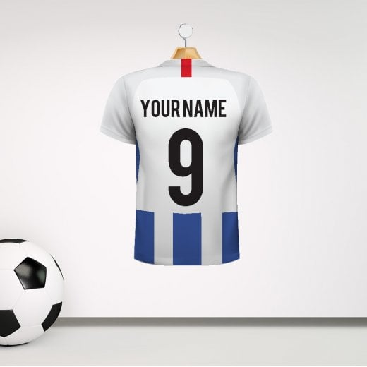 Personalised White & Blue Striped Football Shirt Wall Sticker With Your Name & Number