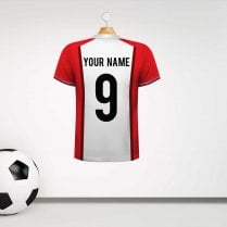 Personalised White & Red Panel Football Shirt Wall Sticker With Your Name & Number
